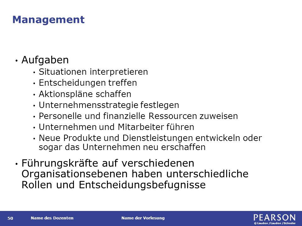 © Laudon /Laudon /Schoder Name des DozentenName der Vorlesung Management 50 Aufgaben Situationen interpretieren Entscheidungen treffen Aktionspläne sc