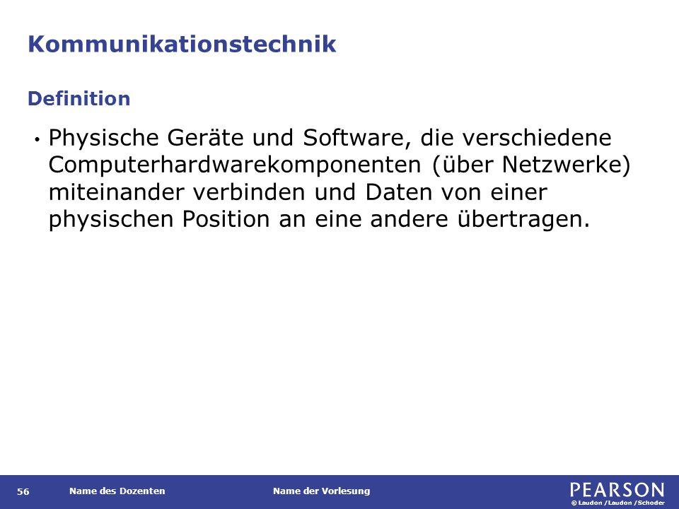 © Laudon /Laudon /Schoder Name des DozentenName der Vorlesung Kommunikationstechnik 56 Physische Geräte und Software, die verschiedene Computerhardwar