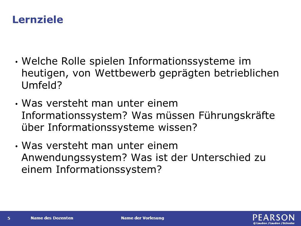 © Laudon /Laudon /Schoder Name des DozentenName der Vorlesung Lernziele 5 Welche Rolle spielen Informationssysteme im heutigen, von Wettbewerb geprägt