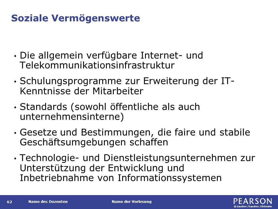 © Laudon /Laudon /Schoder Name des DozentenName der Vorlesung Soziale Vermögenswerte 62 Die allgemein verfügbare Internet- und Telekommunikationsinfra