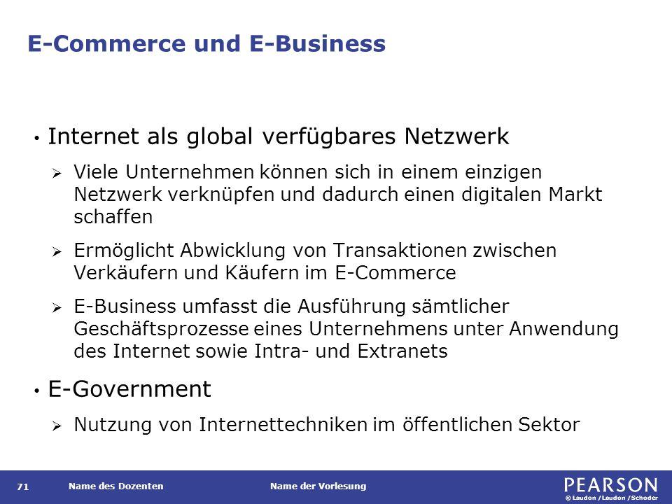 © Laudon /Laudon /Schoder Name des DozentenName der Vorlesung E-Commerce und E-Business 71 Internet als global verfügbares Netzwerk  Viele Unternehme