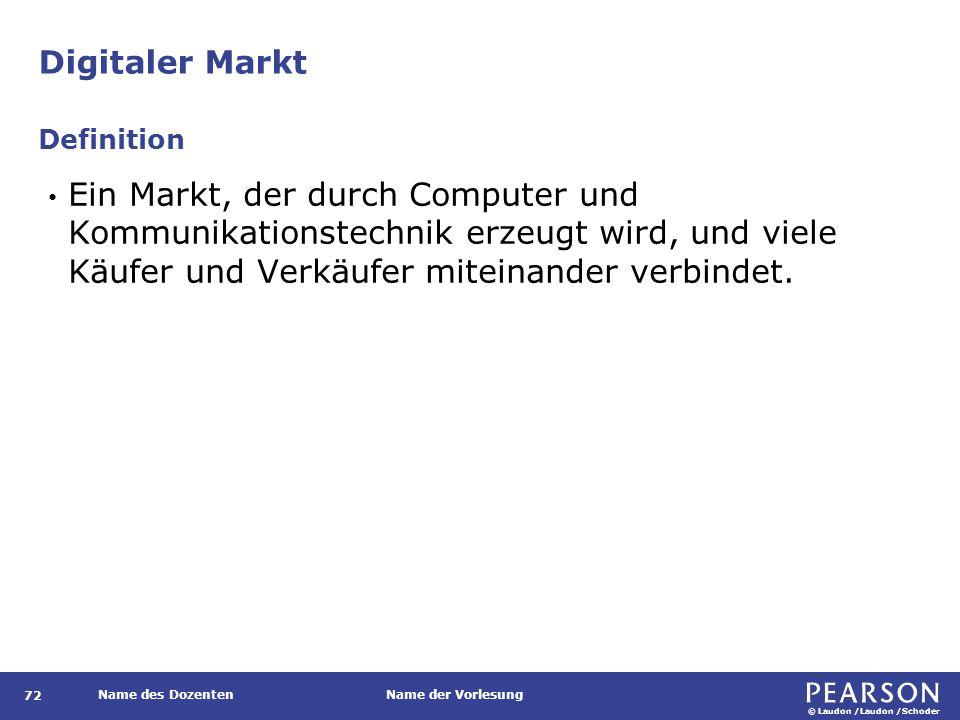 © Laudon /Laudon /Schoder Name des DozentenName der Vorlesung Digitaler Markt 72 Ein Markt, der durch Computer und Kommunikationstechnik erzeugt wird,