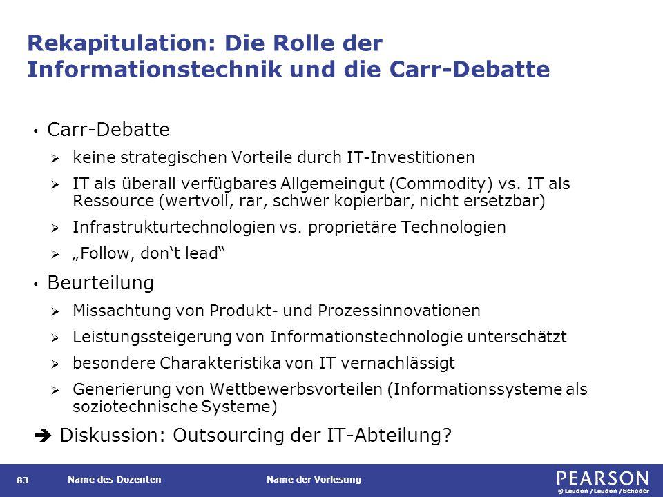 © Laudon /Laudon /Schoder Name des DozentenName der Vorlesung Rekapitulation: Die Rolle der Informationstechnik und die Carr-Debatte 83 Carr-Debatte  keine strategischen Vorteile durch IT-Investitionen  IT als überall verfügbares Allgemeingut (Commodity) vs.
