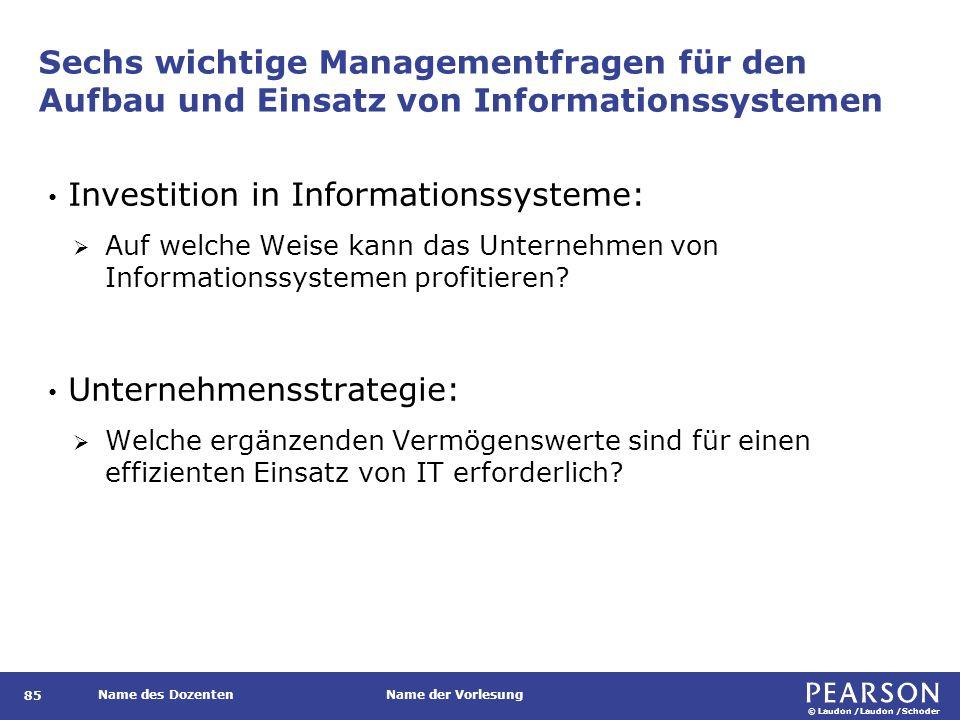 © Laudon /Laudon /Schoder Name des DozentenName der Vorlesung Sechs wichtige Managementfragen für den Aufbau und Einsatz von Informationssystemen 85 I