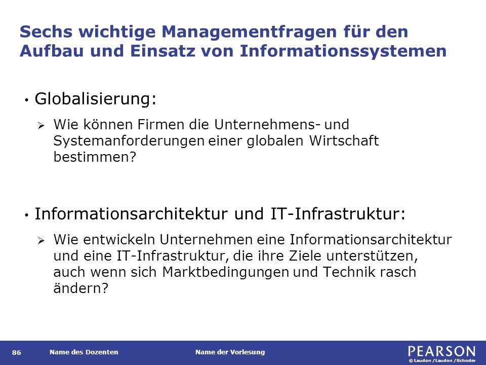 © Laudon /Laudon /Schoder Name des DozentenName der Vorlesung Sechs wichtige Managementfragen für den Aufbau und Einsatz von Informationssystemen 86 G