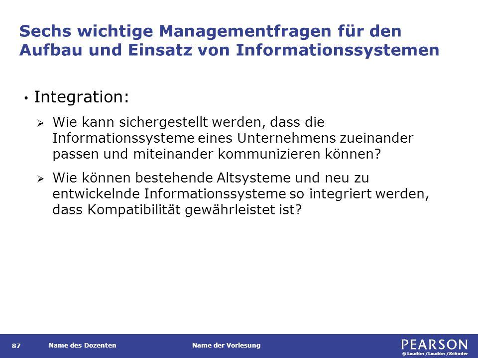© Laudon /Laudon /Schoder Name des DozentenName der Vorlesung Sechs wichtige Managementfragen für den Aufbau und Einsatz von Informationssystemen 87 I