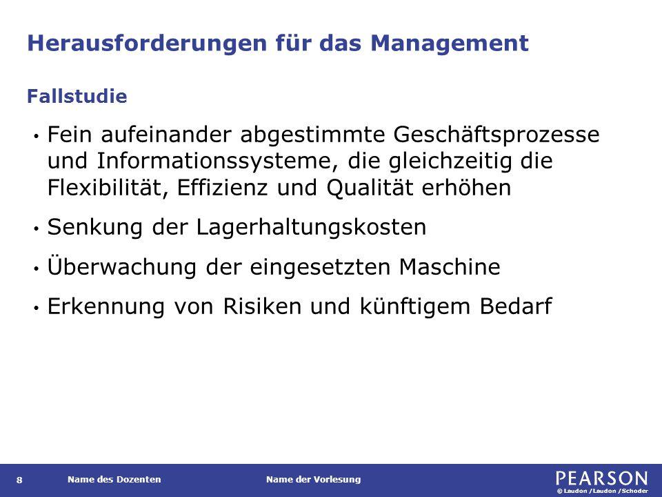 © Laudon /Laudon /Schoder Name des DozentenName der Vorlesung Herausforderungen für das Management 8 Fein aufeinander abgestimmte Geschäftsprozesse un