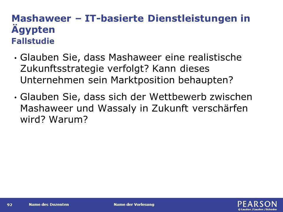 © Laudon /Laudon /Schoder Name des DozentenName der Vorlesung Mashaweer – IT-basierte Dienstleistungen in Ägypten 92 Glauben Sie, dass Mashaweer eine