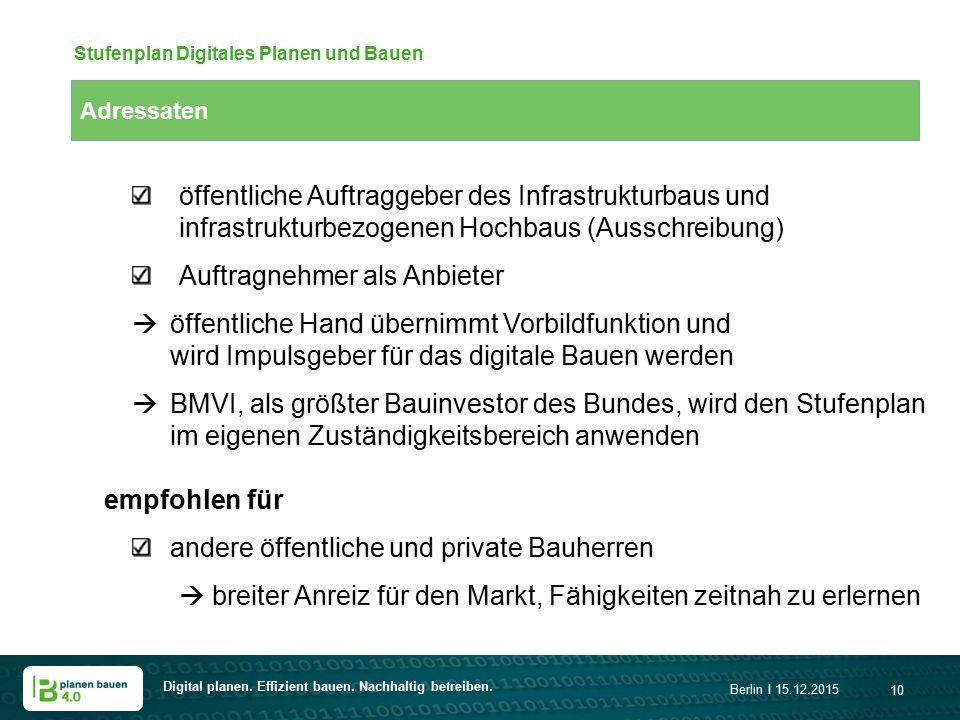 Digital planen. Effizient bauen. Nachhaltig betreiben. Berlin I 15.12.2015 10 Adressaten Stufenplan Digitales Planen und Bauen öffentliche Auftraggebe