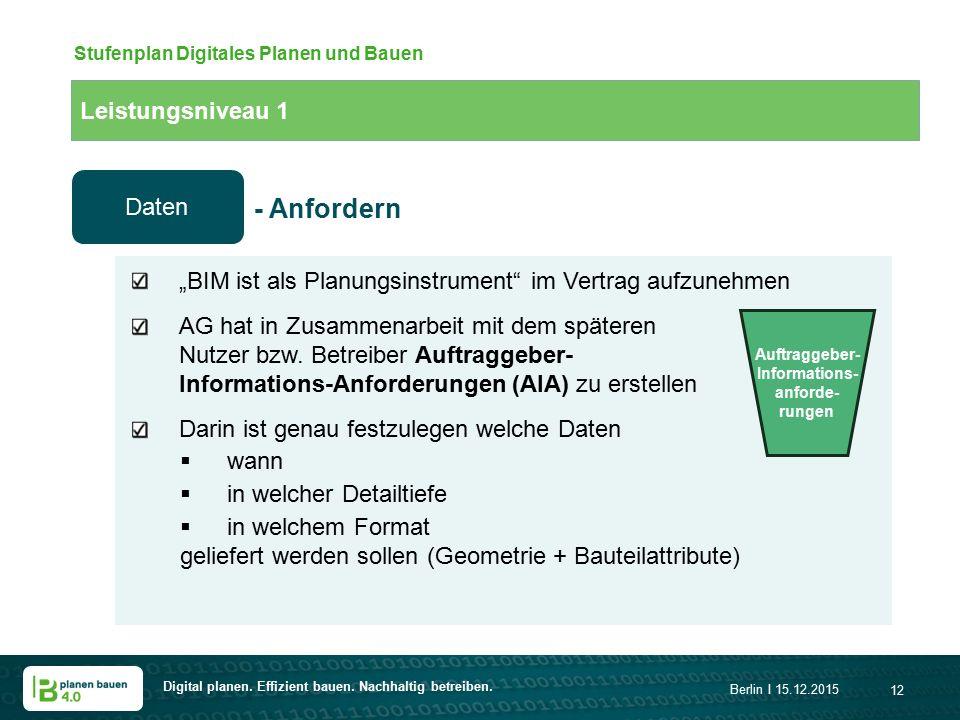 """Digital planen. Effizient bauen. Nachhaltig betreiben. Berlin I 15.12.2015 12 Leistungsniveau 1 Stufenplan Digitales Planen und Bauen """"BIM ist als Pla"""