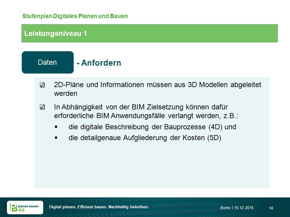 Digital planen. Effizient bauen. Nachhaltig betreiben. Berlin I 15.12.2015 14 Leistungsniveau 1 Stufenplan Digitales Planen und Bauen 2D-Pläne und Inf