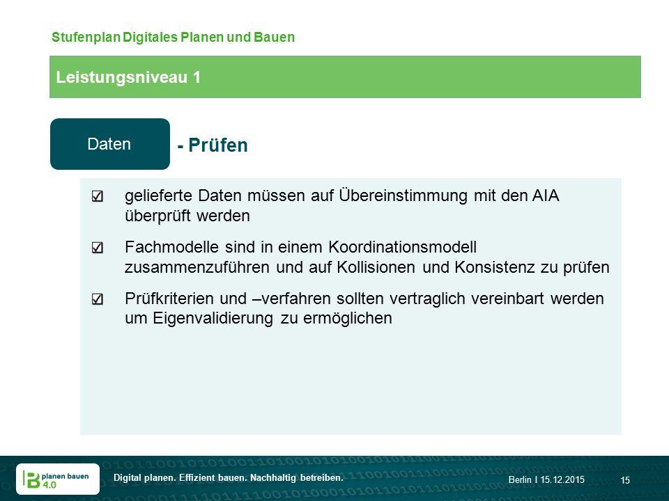 Digital planen. Effizient bauen. Nachhaltig betreiben. Berlin I 15.12.2015 15 Leistungsniveau 1 Stufenplan Digitales Planen und Bauen gelieferte Daten