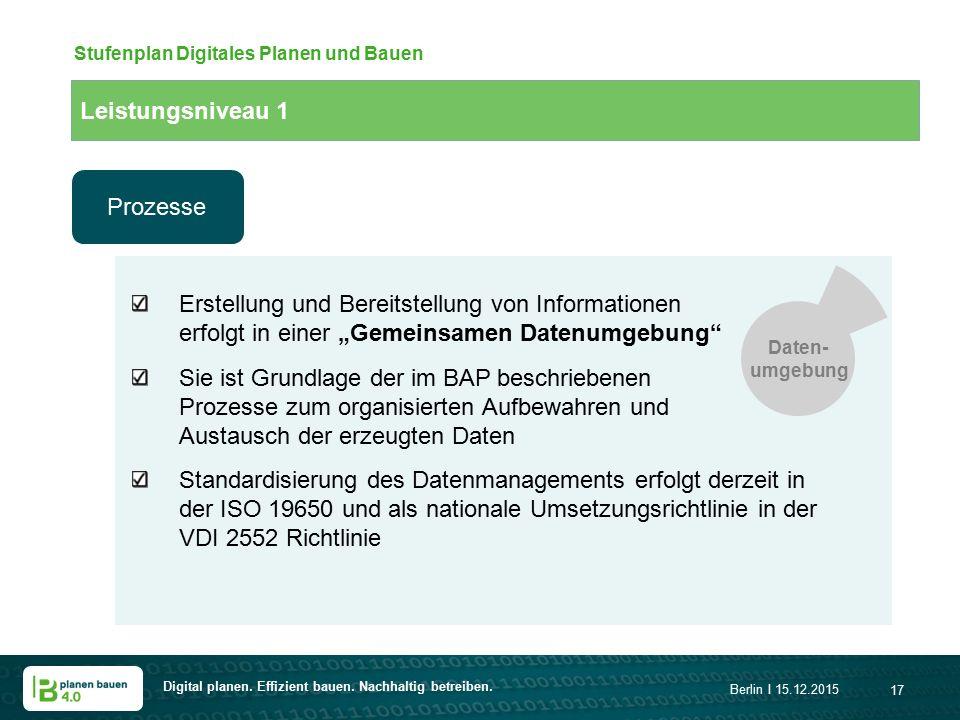 Digital planen. Effizient bauen. Nachhaltig betreiben. Berlin I 15.12.2015 17 Stufenplan Digitales Planen und Bauen Erstellung und Bereitstellung von