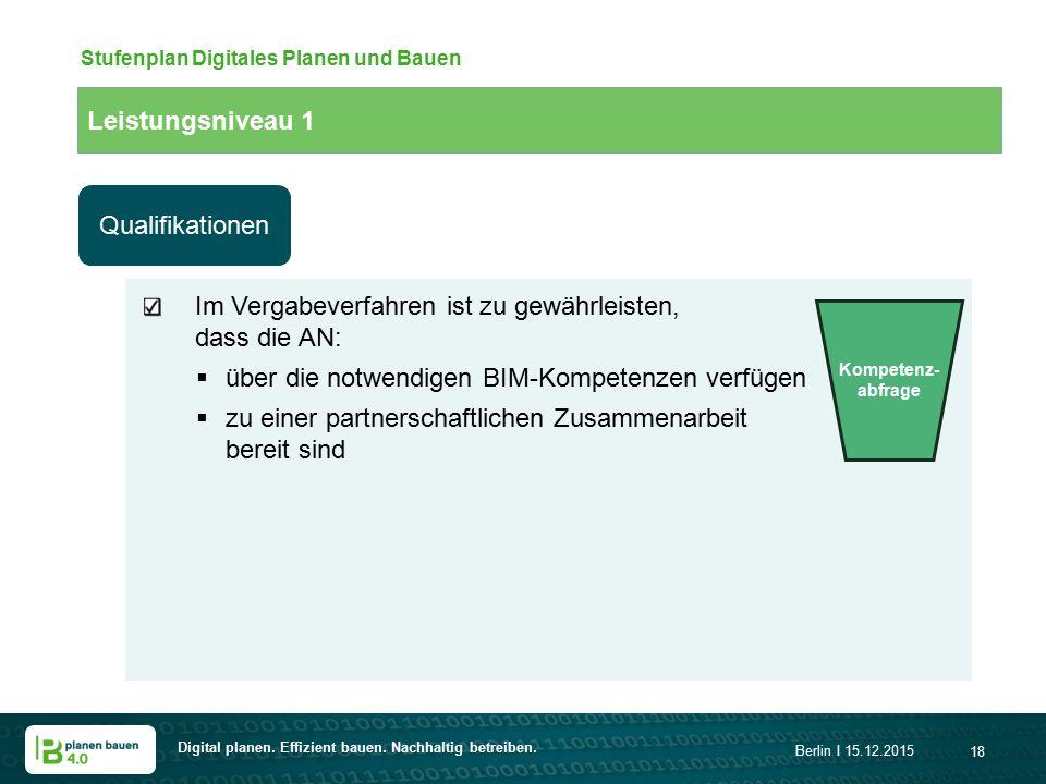 Digital planen. Effizient bauen. Nachhaltig betreiben. Berlin I 15.12.2015 18 Leistungsniveau 1 Stufenplan Digitales Planen und Bauen Im Vergabeverfah