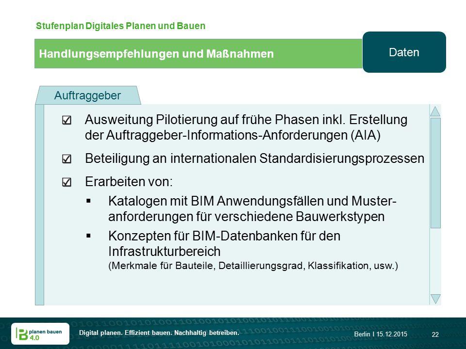 Digital planen. Effizient bauen. Nachhaltig betreiben. Berlin I 15.12.2015 22 Handlungsempfehlungen und Maßnahmen Stufenplan Digitales Planen und Baue