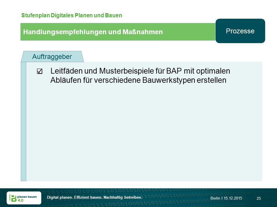 Digital planen. Effizient bauen. Nachhaltig betreiben. Berlin I 15.12.2015 25 Handlungsempfehlungen und Maßnahmen Stufenplan Digitales Planen und Baue