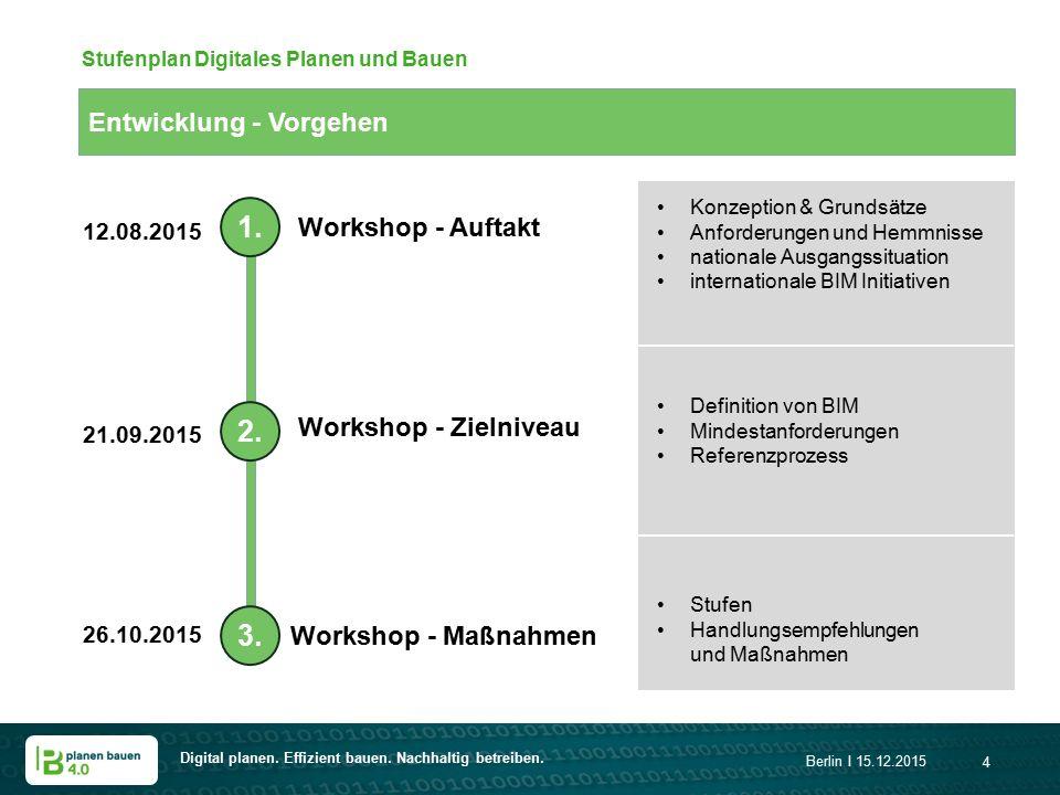 Digital planen. Effizient bauen. Nachhaltig betreiben. Berlin I 15.12.2015 4 Entwicklung - Vorgehen Stufenplan Digitales Planen und Bauen 1. 2. 3. Wor