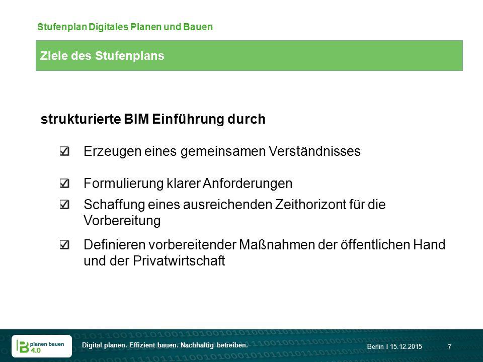 Digital planen. Effizient bauen. Nachhaltig betreiben. Berlin I 15.12.2015 7 Ziele des Stufenplans Stufenplan Digitales Planen und Bauen strukturierte