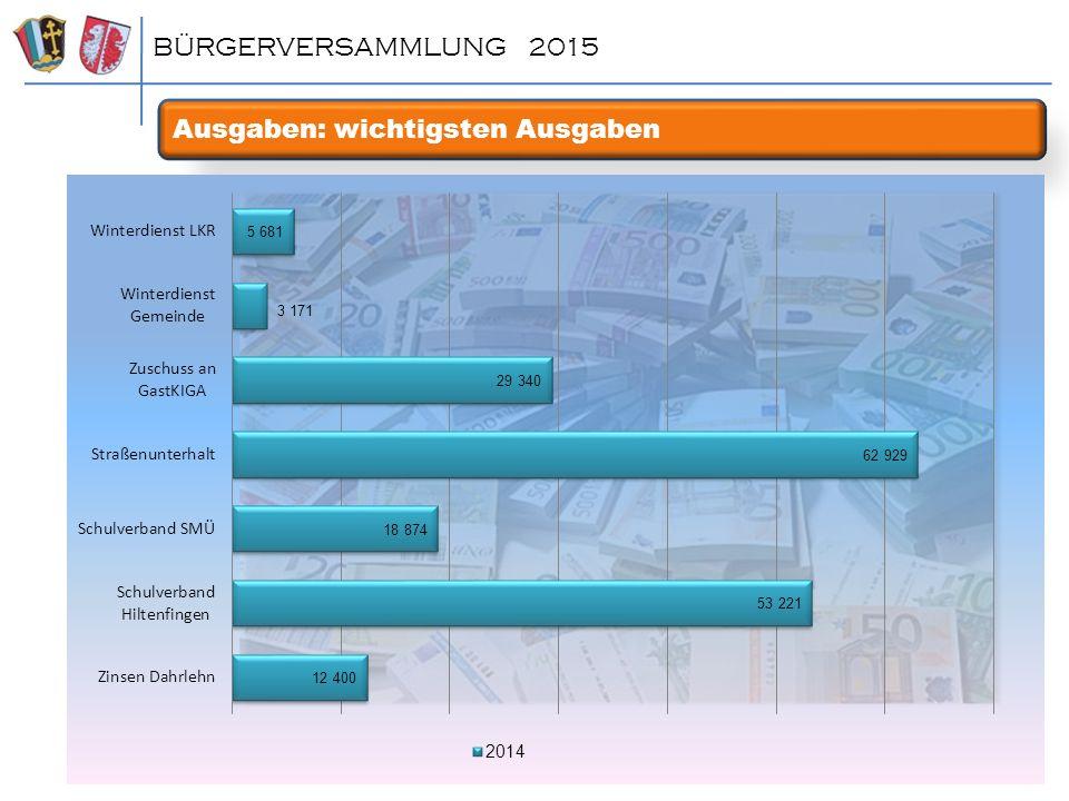 Ausgaben: wichtigsten Ausgaben BÜRGERVERSAMMLUNG 2015
