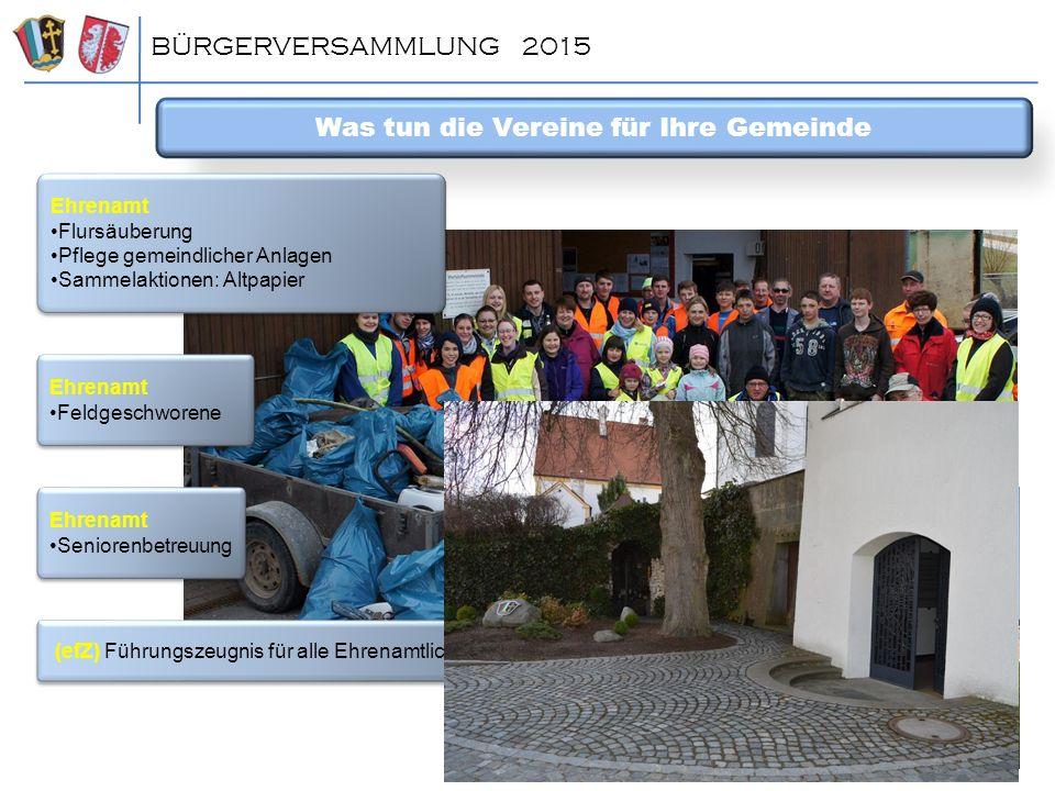 BÜRGERVERSAMMLUNG 2015 Was tun die Vereine für Ihre Gemeinde Ehrenamt Flursäuberung Pflege gemeindlicher Anlagen Sammelaktionen: Altpapier Ehrenamt Fl