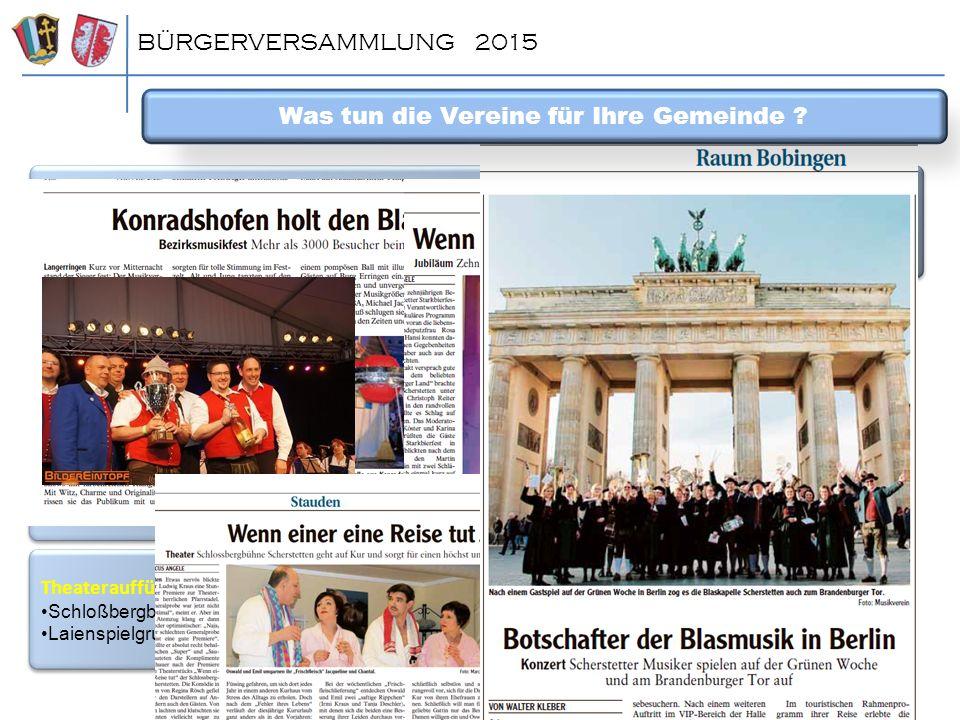 BÜRGERVERSAMMLUNG 2015 Möbelbörse, Wertstoffhof, Traditionen und Bräuche (Maibäume, Maifeuer, …) attraktive Vereine (Repräsentanten, Reservistenverein