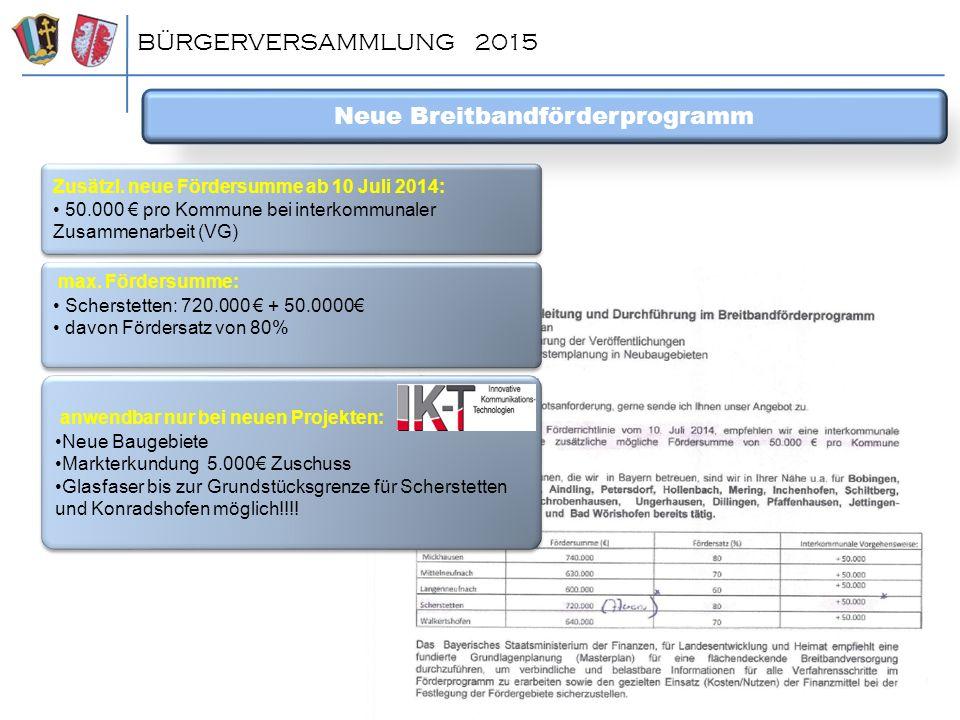 BÜRGERVERSAMMLUNG 2015 Neue Breitbandförderprogramm Zusätzl. neue Fördersumme ab 10 Juli 2014: 50.000 € pro Kommune bei interkommunaler Zusammenarbeit