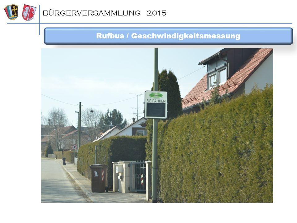 BÜRGERVERSAMMLUNG 2015 Rufbus / Geschwindigkeitsmessung