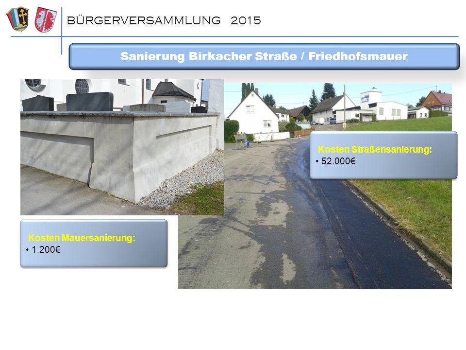 BÜRGERVERSAMMLUNG 2015 Sanierung Birkacher Straße / Friedhofsmauer Kosten Straßensanierung: 52.000€ Kosten Straßensanierung: 52.000€ Kosten Mauersanie