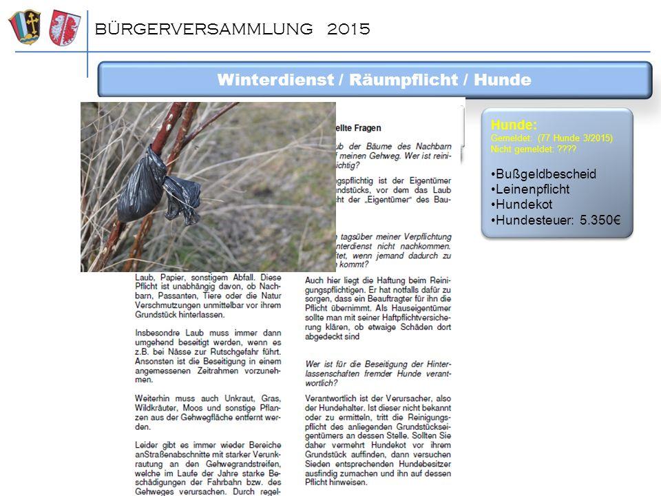 BÜRGERVERSAMMLUNG 2015 Winterdienst / Räumpflicht / Hunde Hunde: Gemeldet: (77 Hunde 3/2015) Nicht gemeldet: ???? Bußgeldbescheid Leinenpflicht Hundek