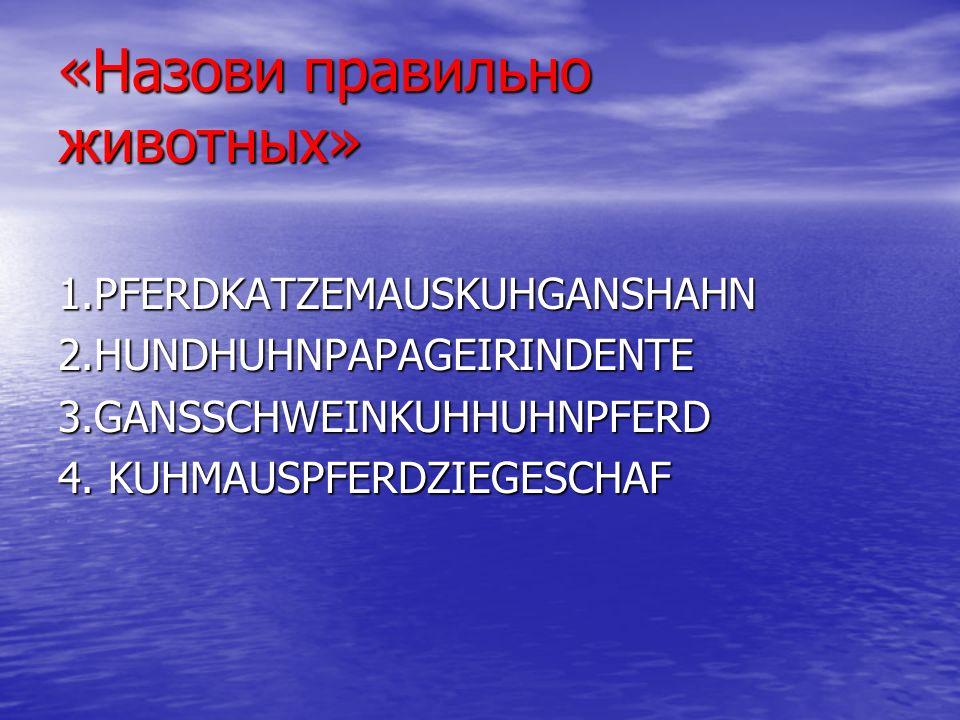 «Назови правильно животных» 1.PFERDKATZEMAUSKUHGANSHAHN 2.HUNDHUHNPAPAGEIRINDENTE 3.GANSSCHWEINKUHHUHNPFERD 4.