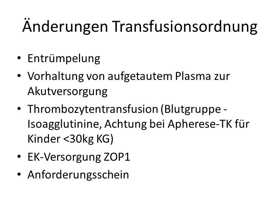Änderungen Transfusionsordnung Entrümpelung Vorhaltung von aufgetautem Plasma zur Akutversorgung Thrombozytentransfusion (Blutgruppe - Isoagglutinine, Achtung bei Apherese-TK für Kinder <30kg KG) EK-Versorgung ZOP1 Anforderungsschein