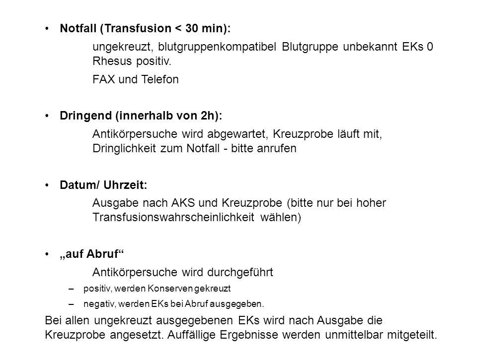 Notfall (Transfusion < 30 min): ungekreuzt, blutgruppenkompatibel Blutgruppe unbekannt EKs 0 Rhesus positiv.