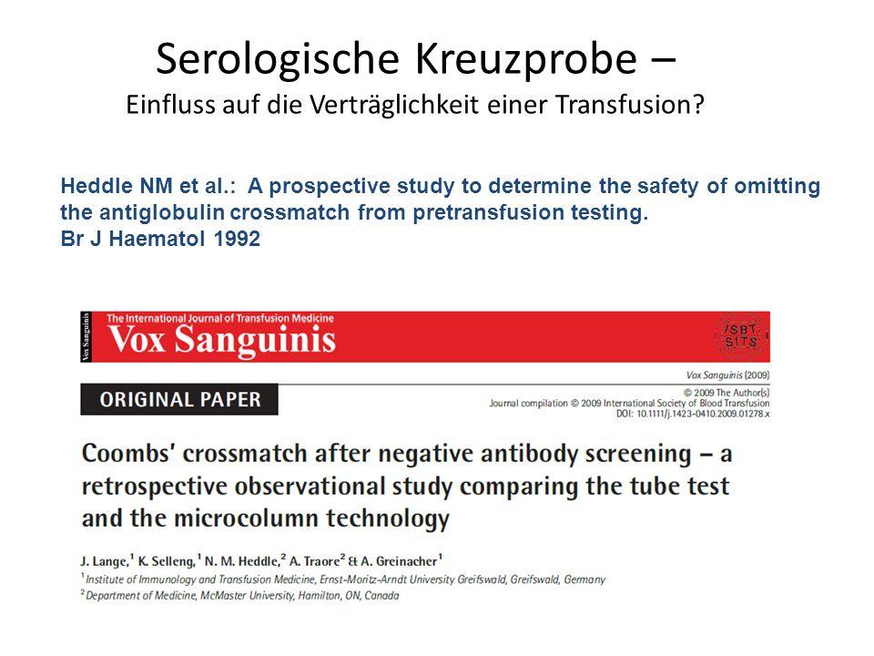 Serologische Kreuzprobe – Einfluss auf die Verträglichkeit einer Transfusion.