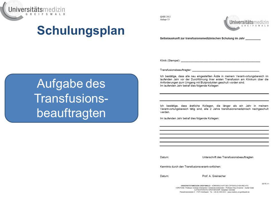 Schulungsplan Aufgabe des Transfusions- beauftragten