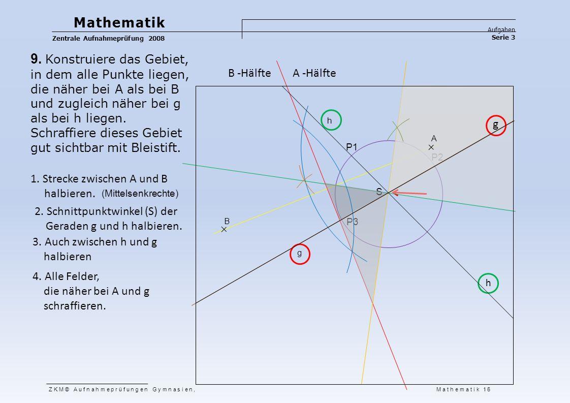 Mathematik Aufgaben Serie 3 Zentrale Aufnahmeprüfung 2008 ZKM© Aufnahmeprüfungen Gymnasien, Mathematik 16 9. Konstruiere das Gebiet, in dem alle Punkt