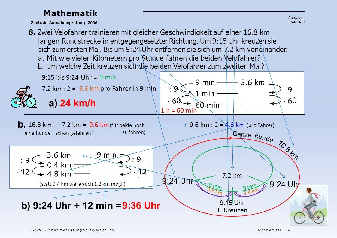 3.6 km Mathematik Aufgaben Serie 3 Zentrale Aufnahmeprüfung 2008 ZKM© Aufnahmeprüfungen Gymnasien, Mathematik 16 8. Zwei Velofahrer trainieren mit gle