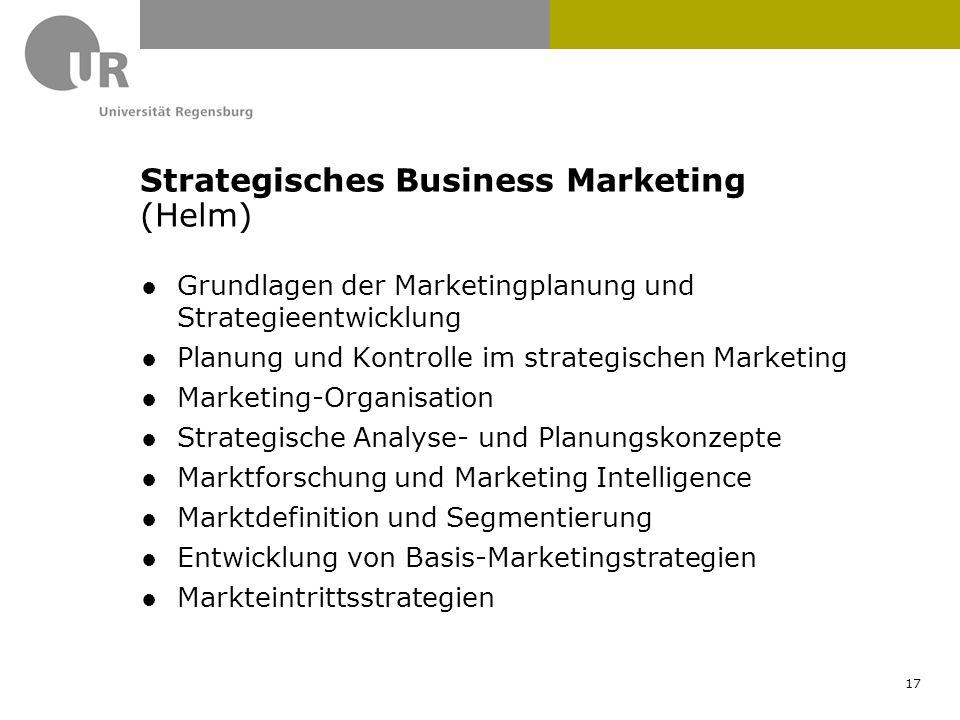 ●Grundlagen der Marketingplanung und Strategieentwicklung ●Planung und Kontrolle im strategischen Marketing ●Marketing-Organisation ●Strategische Anal