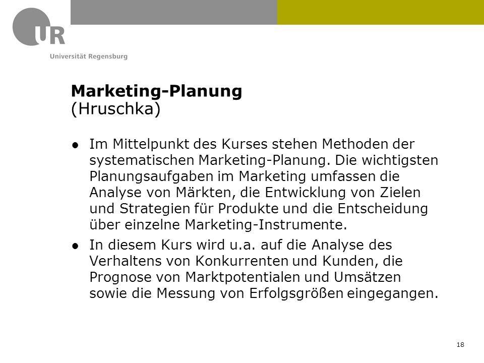 ●Im Mittelpunkt des Kurses stehen Methoden der systematischen Marketing-Planung. Die wichtigsten Planungsaufgaben im Marketing umfassen die Analyse vo