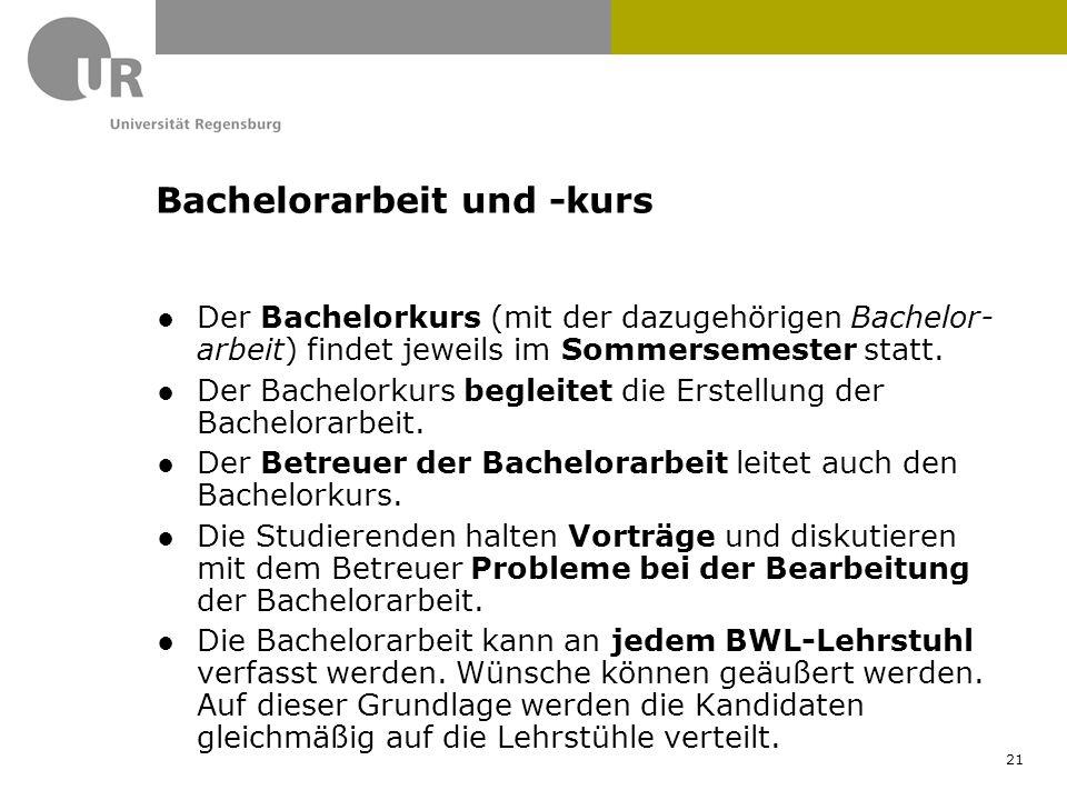 ●Der Bachelorkurs (mit der dazugehörigen Bachelor- arbeit) findet jeweils im Sommersemester statt. ●Der Bachelorkurs begleitet die Erstellung der Bach