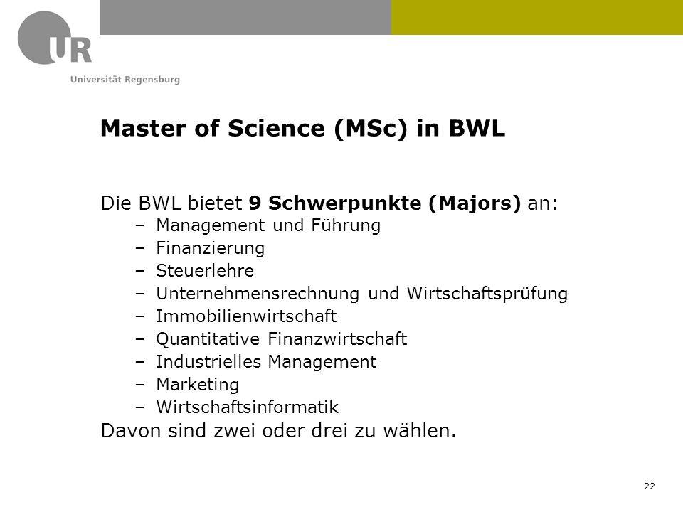 Die BWL bietet 9 Schwerpunkte (Majors) an: –Management und Führung –Finanzierung –Steuerlehre –Unternehmensrechnung und Wirtschaftsprüfung –Immobilien