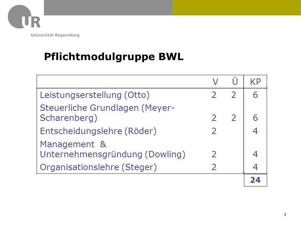 V ÜKP Leistungserstellung (Otto)226 Steuerliche Grundlagen (Meyer- Scharenberg)226 Entscheidungslehre (Röder) 2 4 Management & Unternehmensgründung (D