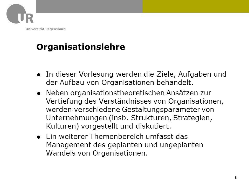 ●In dieser Vorlesung werden die Ziele, Aufgaben und der Aufbau von Organisationen behandelt. ●Neben organisationstheoretischen Ansätzen zur Vertiefung