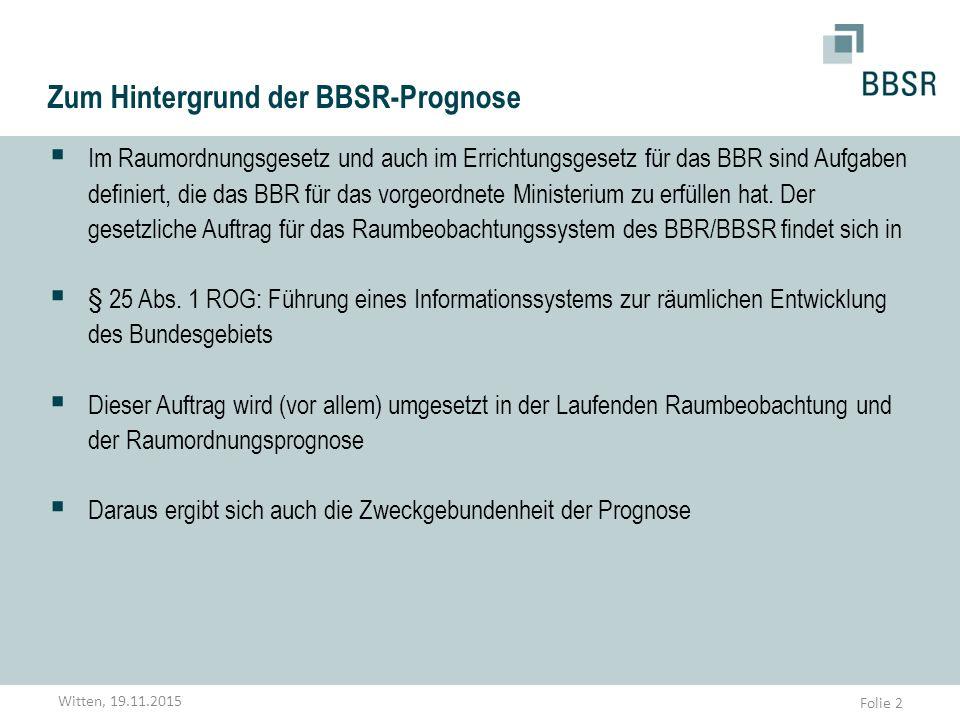 Folie 2 Zum Hintergrund der BBSR-Prognose  Im Raumordnungsgesetz und auch im Errichtungsgesetz für das BBR sind Aufgaben definiert, die das BBR für d
