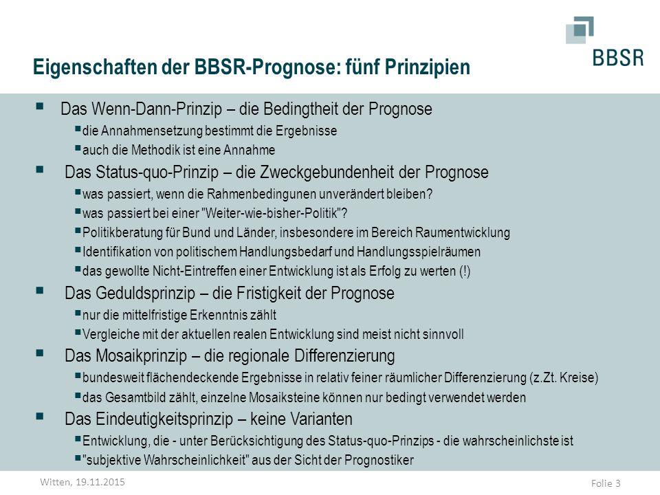 Folie 3 Eigenschaften der BBSR-Prognose: fünf Prinzipien  Das Wenn-Dann-Prinzip – die Bedingtheit der Prognose  die Annahmensetzung bestimmt die Erg