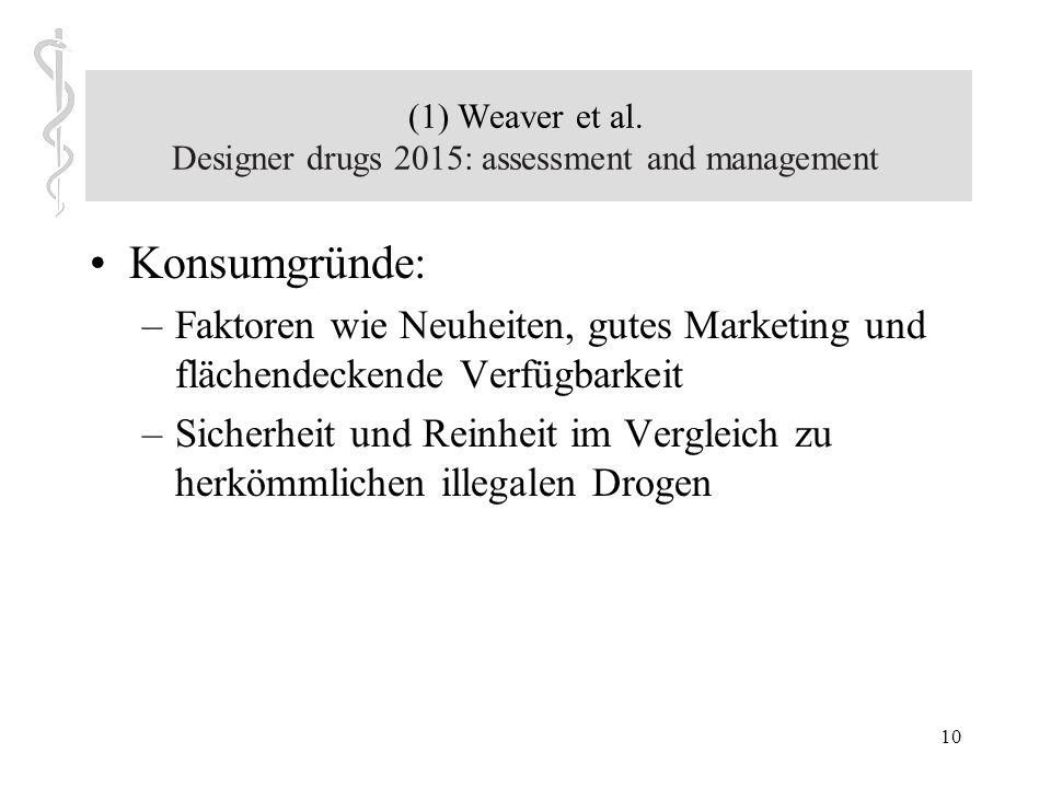9 (1) Weaver et al. Designer drugs 2015: assessment and management zur Epidemiologie: junge männliche Erwachsene konsumieren NPSs Alter: Mitte bis End