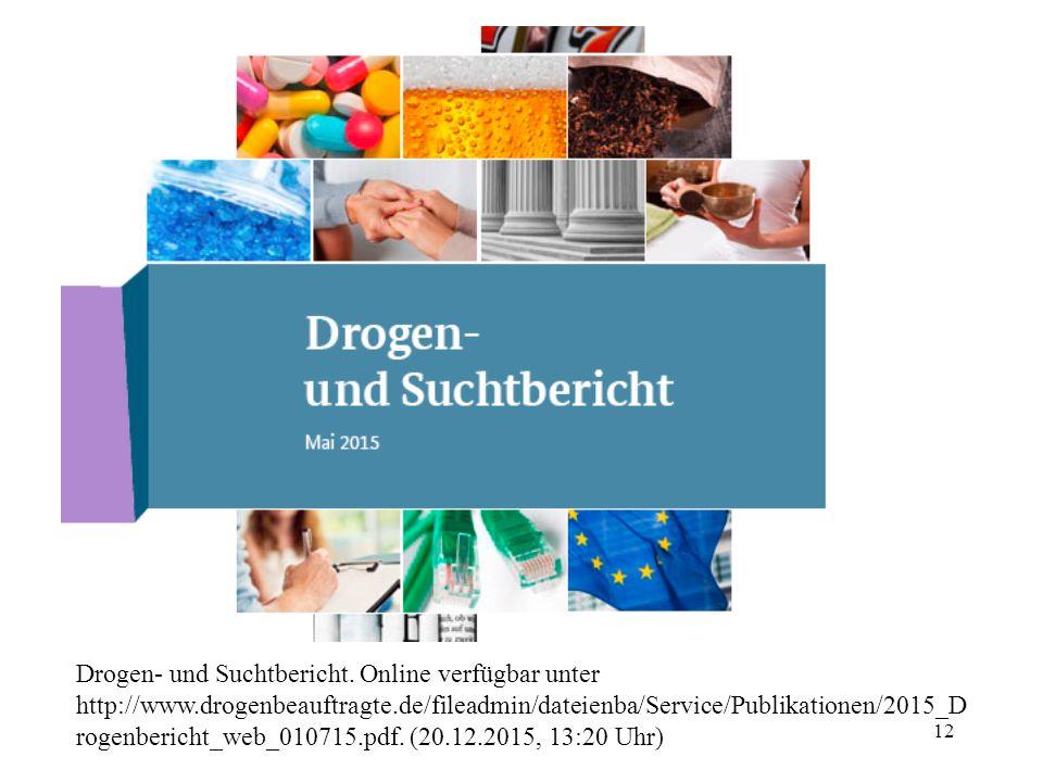 11 Epidemiologie - Deutschland Schwache Datenlage wenig aussagekräftig sind: –Marlene Mortler: Drogenbeauftragte der Bundesregierung – Europ ä ische B