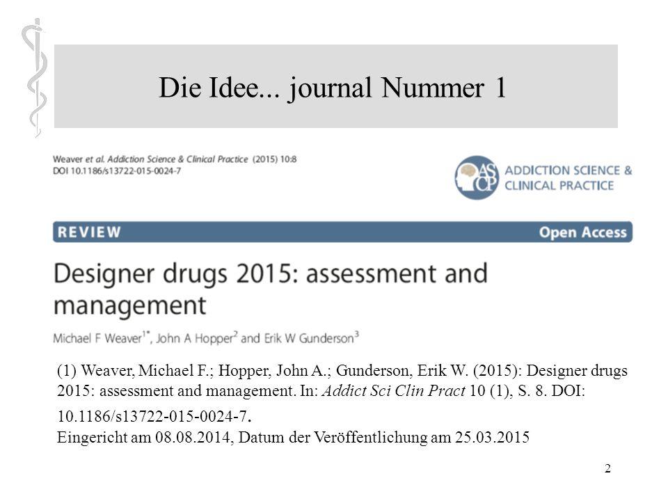 2 Die Idee...journal Nummer 1 (1) Weaver, Michael F.; Hopper, John A.; Gunderson, Erik W.