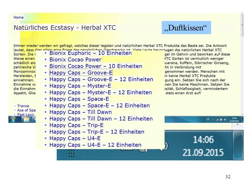 31 Stimulanzien - Ephedrin ab 1982 in Frankfurt/M missbräuchliche Verwendung ephedrinhaltiger FAM (in Verbindung mit Alkohol) ab 1990er Jahre Kombinat
