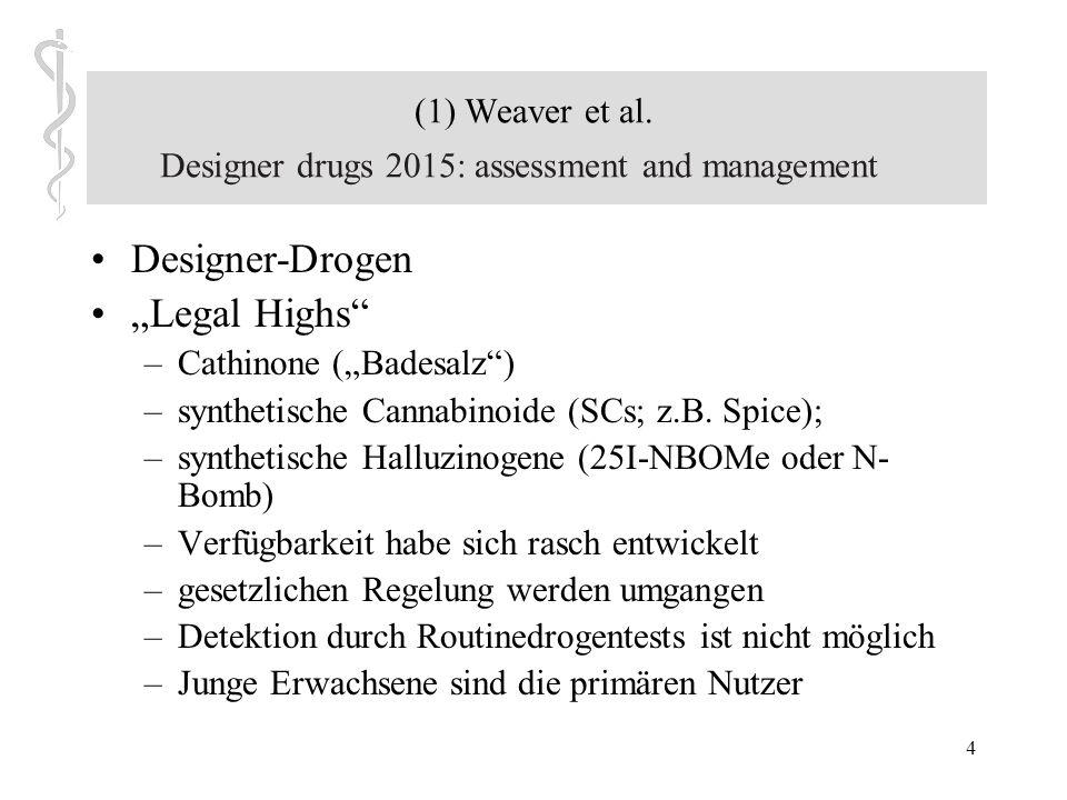 34 Stimulanzien - Ephedrin Gefahren: –psychische Abhängigkeit –körperliche Schäden nur vereinzelt beschrieben –Ausgangssubstanz anderer ATS-Drogen