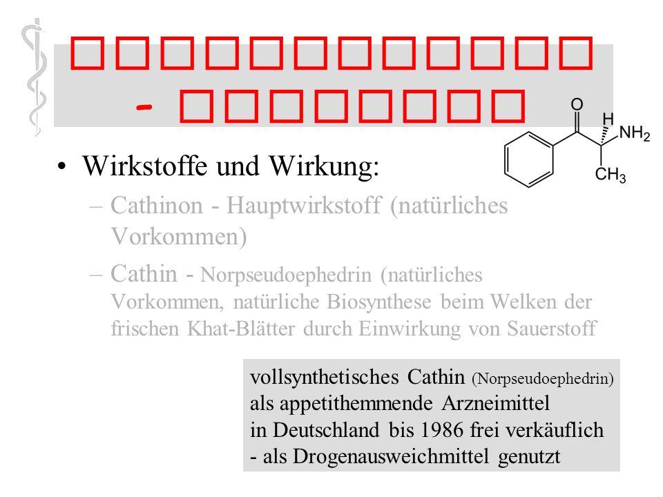 44 Stimulanzien - Cathinon Wirkstoffe und Wirkung: –Cathinon - Hauptwirkstoff (natürliches Vorkommen) –Cathin - Norpseudoephedrin (natürliches Vorkommen, natürliche Biosynthese beim Welken der frischen Khat-Blätter durch Einwirkung von Sauerstoff